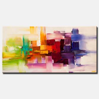 canvas print of colorful modern abstract art textured painting