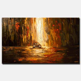 canvas print of abstract city street at dawn