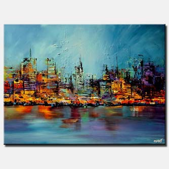 canvas print of colorful cityscape painting