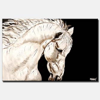 canvas print of white troyan horse head