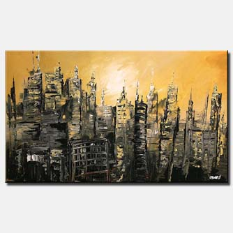 canvas print of abstract cityscape in ruins