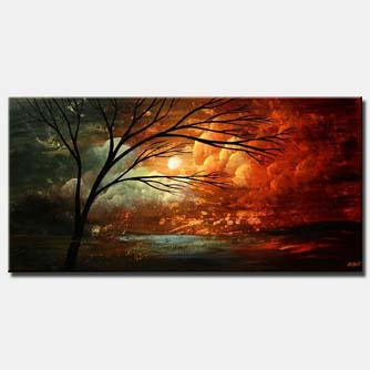 canvas print of abstract landscape naked tree and cloudy sky