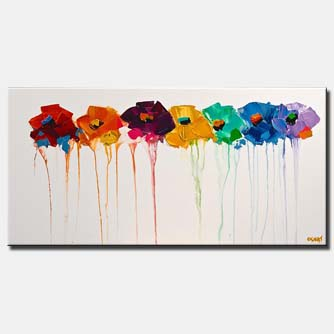 canvas print of abstract flowers on white background