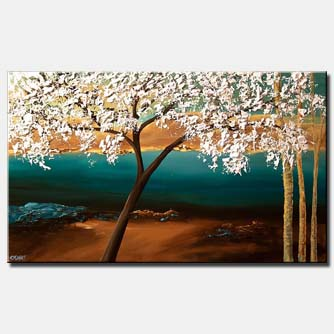 canvas print of flowering almond tree on landscape backgrond