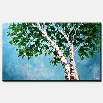 canvas print of blooming birch trees blooming green