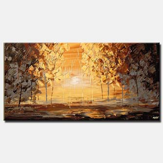 canvas print of abstract forest in brown tones during sunrise