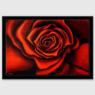 red rose painting framed modern floral abstract