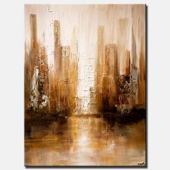 white brown abstract modern city painting palette knife