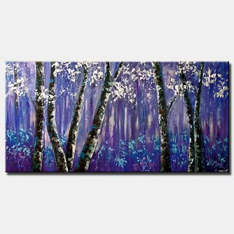 canvas print of purple forest of blooming birch trees