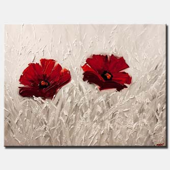 canvas print of red flowers painting on white background