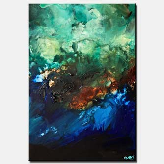 canvas print of abstract in blue and green