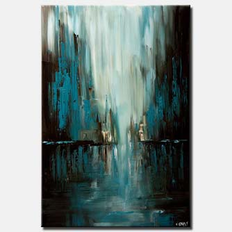 canvas print of blue abstract cityscape