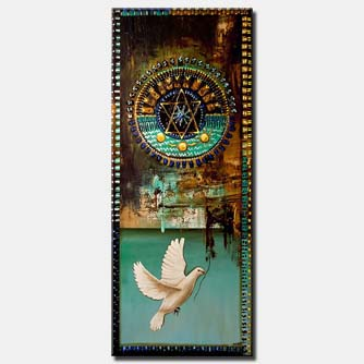 canvas print of judaica magen david painting with dove of peace