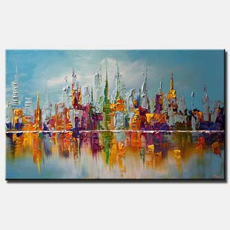 canvas print of city view abstract on blue background
