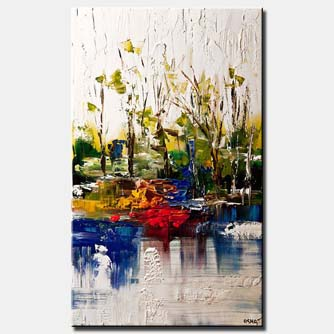 canvas print of by the river landscape on white background