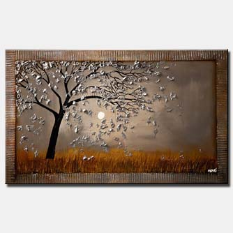 canvas print of abstract tree on gray background