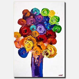 canvas print of vase with colorful flowers on white background