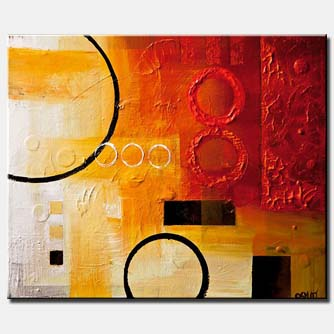 canvas print of abstract circles on red and white background
