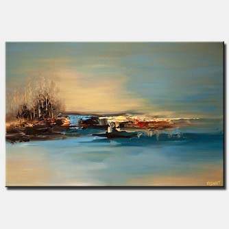 canvas print of abstract painting of an island