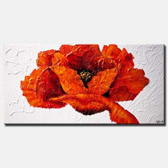 canvas print of large red poppy flower on white background