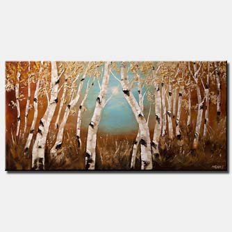 canvas print of forest of birch trees