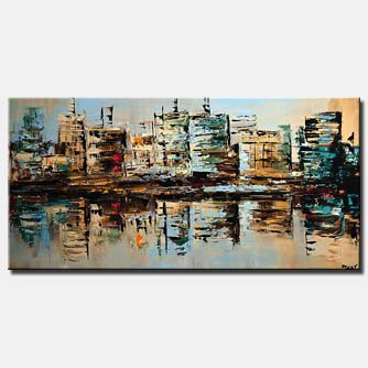 canvas print of city buildings reflected in water