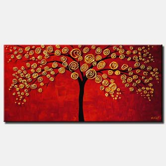 canvas print of golden tree on red background