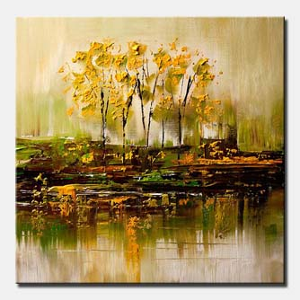 canvas print of bunch of trees reflected in swamp