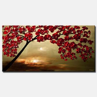 canvas print of red cherry tree