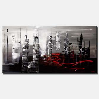 canvas print of abstract cityscape in gray and black