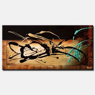 canvas print of black and turquoise modern splash painting