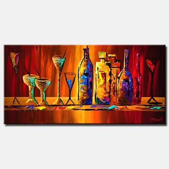 canvas print of colorful wine bottles and glasses