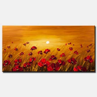 canvas print of a field of poppy flowers on a sunrise background