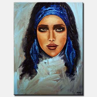 canvas print of painting of amazingly beautiful woman face with blue ribbon