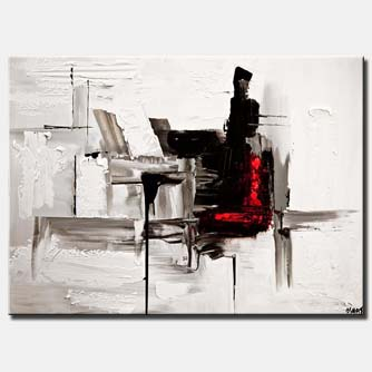 canvas print of  Black White abstract painting