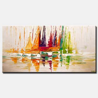 canvas print of  Sail Boat Art Modern Palette Knife