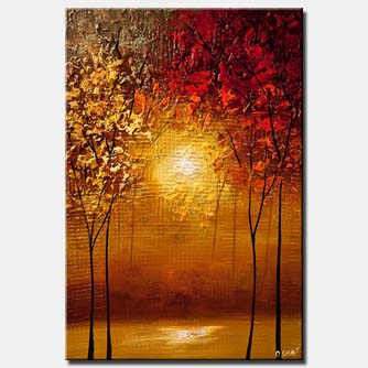 canvas print of contemporary abstract blooming trees painting