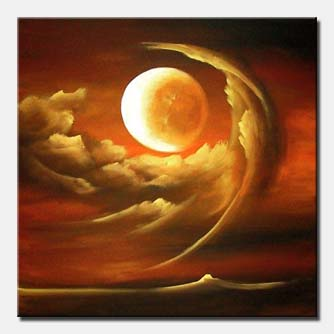 engulfed moon clouds painting