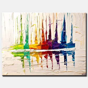 colorful boats on white palette knife