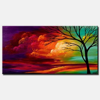 abstract landscape colorful sunset painting