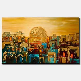 canvas print of Jerusalem gold palette knife city painting