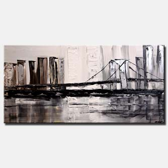 canvas print of modern city bridge white gray silver city painting palette knife