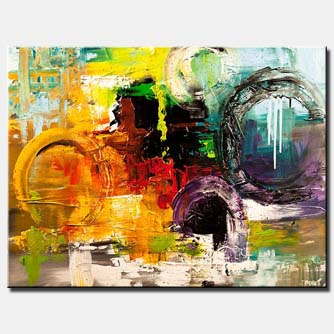 canvas print of huge colorful abstract painting textured