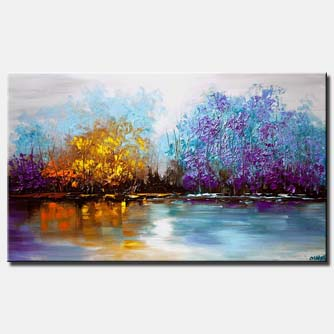 canvas print of lake view landscape painting palette knife
