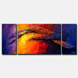canvas print of colorful abstract painting heavy impasto texture