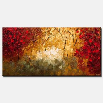canvas print of textured abstract landscape blooming tree painting