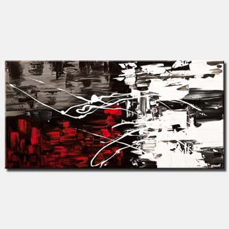 original contemporary white red black abstract painting textured