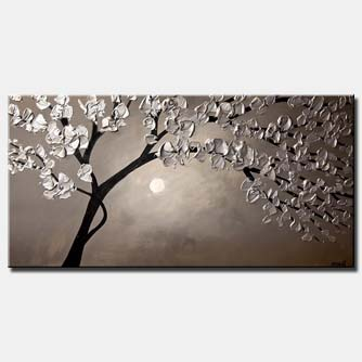 canvas print of silver blooming tree landscape painting heavy impasto