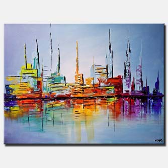 canvas print of city lights painting modern abstract art palette knife
