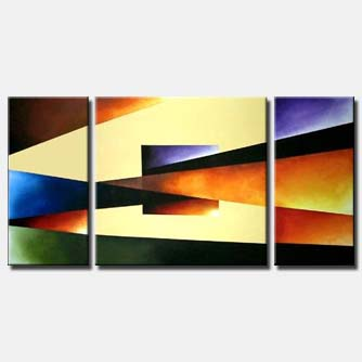 colorful geometrical triptych